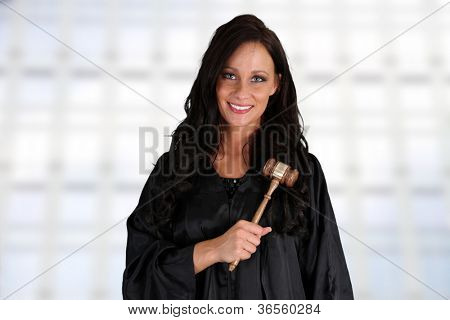 Woman judge standing up in the court room