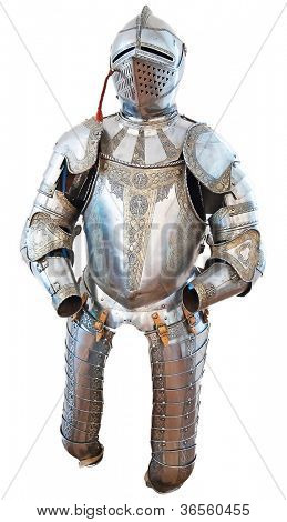 Knights armour in the medieval castle isolated on white