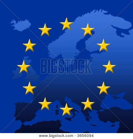 Europe Map With Eu Stars