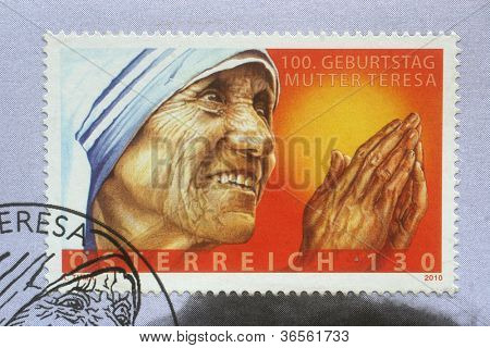 AUSTRIA - CIRCA 2010: postage stamp printed in Austria showing an image of mother Teresa, published for the centenary,  circa 2010.