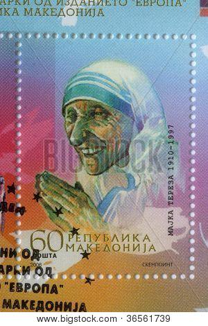 REPUBLIC OF MACEDONIA - CIRCA 2006: postage stamp printed in Macedonia showing an image of Mother Teresa,  circa 2006.