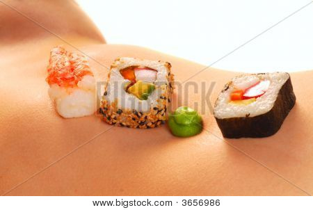Sushi On A Woman'S Nude Stomach