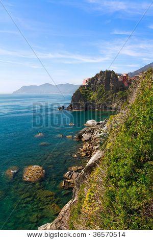 Coastline at Manarola, Cinque Terre in Italy