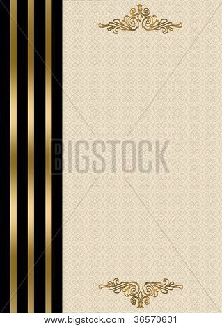 Wedding invitation gold and black