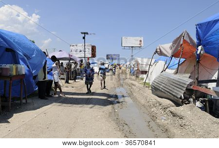 Tent city in Haiti.