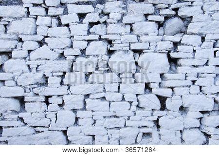 Pared de piedra blanca