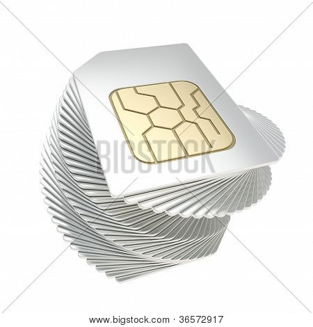 Twisted Pile Of Phone Sim Cards With Circuit Microchips