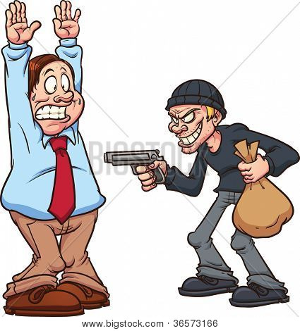 Fat man being robbed by a thief at gunpoint. Vector illustration with simple gradients. Each in a separate layer for easy editing.