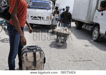 Bus stand in Haiti.