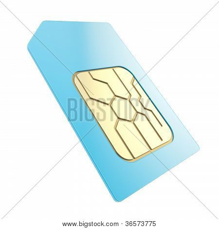 Phone Sim Card With Golden Circuit Microchip Isolated