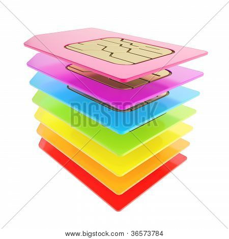 Colorful Stack Of Phone Sim Cards With Circuit Microchips