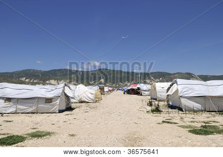 kites and tent city.