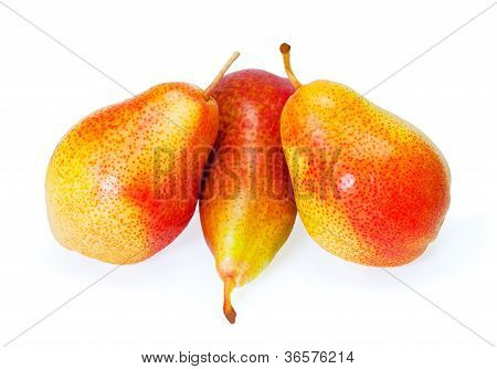 Group Pears Isolated On White Background