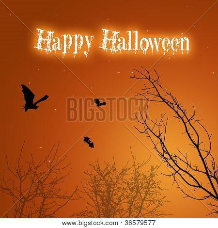 Halloween Bats and Trees