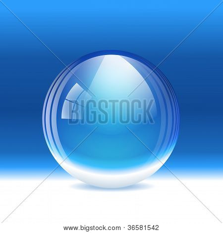 Vector empty transparent snow globe (crystal sphere)