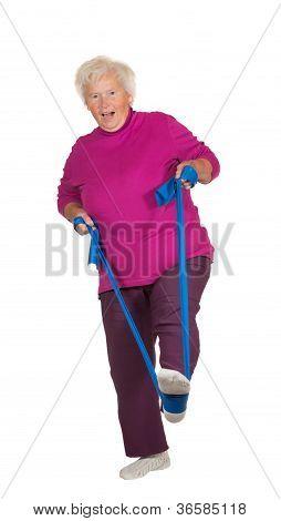 Retried Senior Woman Exercising