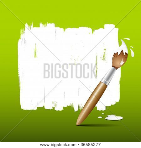 Paint brush green background