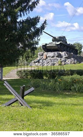 Russian Tank T-34 On A Pedestal
