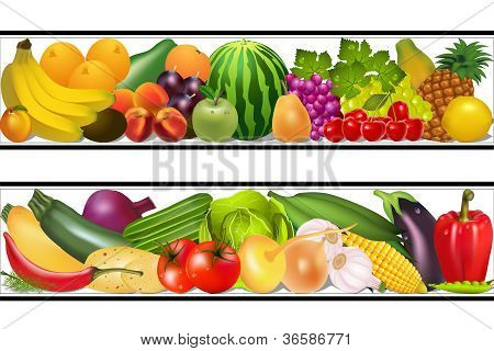 Set Food Vegetables And Fruits Painting Vector Damp