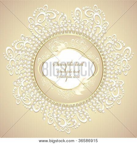 Wedding or sweet frame with pearls petals and lace