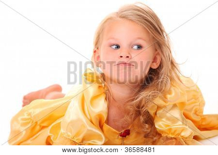 A picture of an adorable little girl looking with curiosity over white background