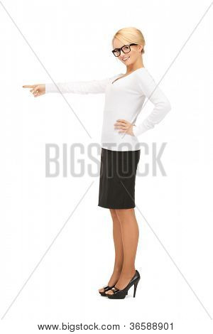 picture of attractive businesswoman pointing her finger...