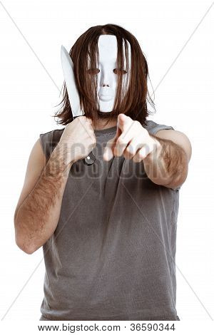 Dangerous Masked Man With Knife