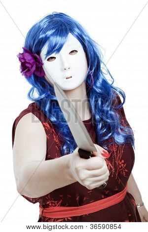 Scary Masked Woman With Knife