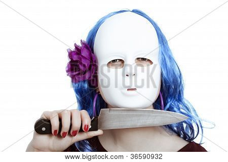 Horror Masked Woman With Knife