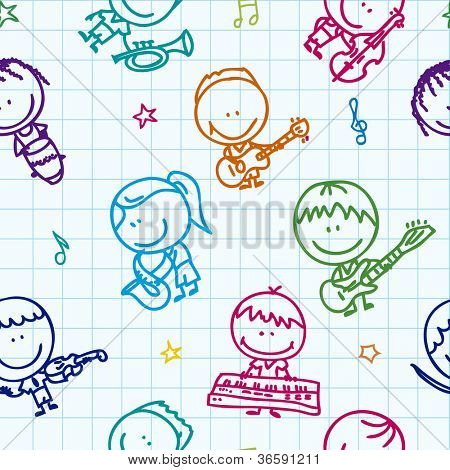 Seamless doodle background with happy children band with musical instruments on school paper