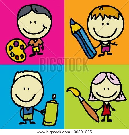 Set of doodle happy children with pen, pencil and paintbrush