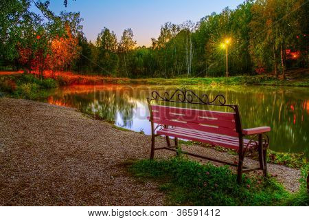 The Hdr Image Of The Autumn Park Evening