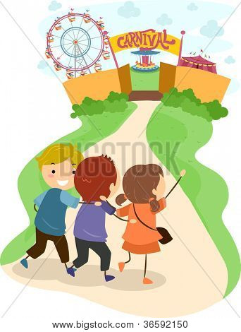Illustration of Excited Kids Headed Towards a Carnival
