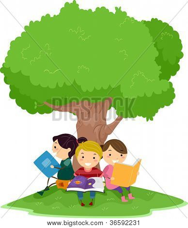 Illustration of Kids Reading Under a Tree