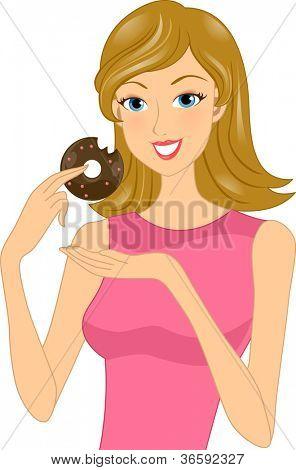 Illustration of a Woman Holding a Partially Eaten Doughnut