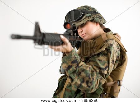 Army Girl With Gun
