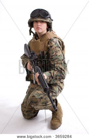 Army Girl With Helmet