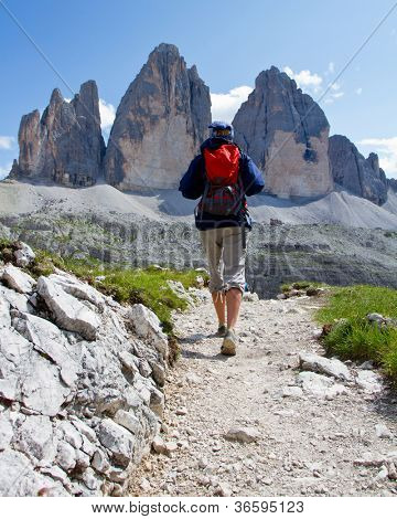 "Woman on mountain hike -Tre Cime di Lavaredo "" Drei Zinnen "", Dolomite, Italy"