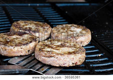 Beef Quarterpounder Burgers Cooking On The Gas Barbecue