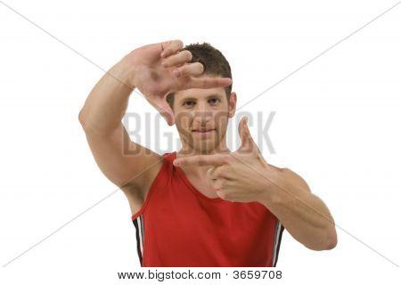 Adult Man Showing Framing Gesture