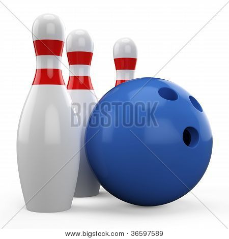 3D blue bowling ball and pin isolated on white background