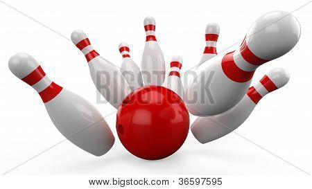 3d Bowling Ball crashing into the pins on white background