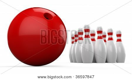 3d Bowling Ball and Pin on white background