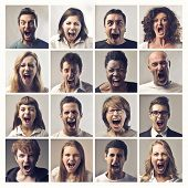 stock photo of revolt  - Composition of people screaming - JPG