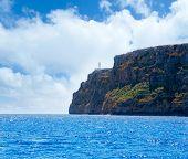 stock photo of mola  - Formentera Faro de la Mola lighthouse view from sea - JPG