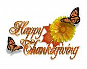 image of monarch  - Happy Thanksgiving graphic - JPG