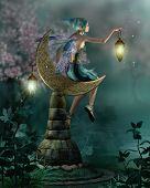 stock photo of fairyland  - a little pixie with a lantern sitting on a moon of stone - JPG