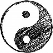 stock photo of taoism  - Vector illustration of black and white Doodle yin - JPG