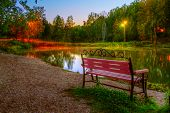 image of novosibirsk  - The hdr image of the autumn park evening in Koltsovo  - JPG