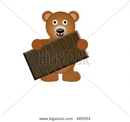 A Teddy Bear Holding A Bar Of Chocolate
